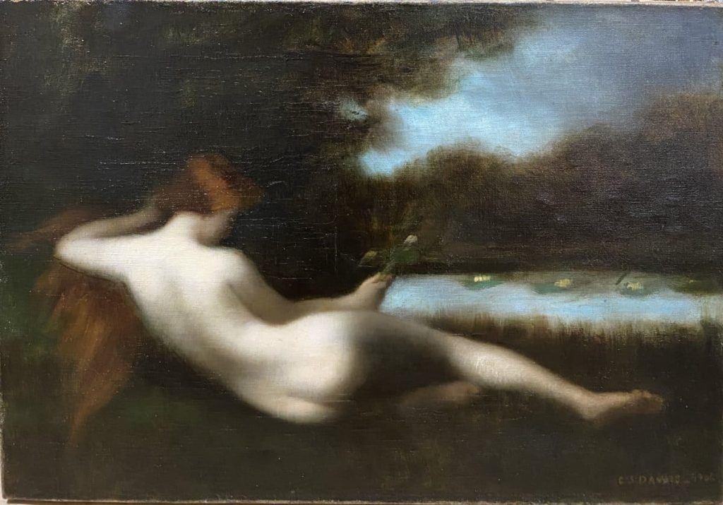 Acquisitions - Nymphe à la fleur,Germaine Dawis, 1906, huile sur toile, 38 x 55 cm, ©Drylewicz